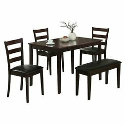 Coaster 5pc Dining Table, Chairs & Bench Set Cappuccino Fini