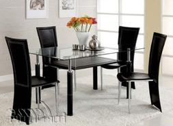 5pc Dining Table and Chairs Set in Black Leatherette and Sil