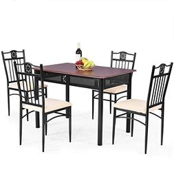 Tangkula 5 Piece Dining Table and Chairs Set Vintage Retro W