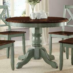 Dining Table Round Chairs Antique Rustic Traditional Pedesta