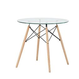 Green Forest Dining Table Round Clear Glass Table Modern Sty