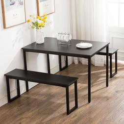Dining Table Set 2 Bench Chairs Wood Rustic Rectangular Kitc
