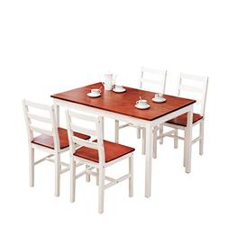 Mecor 5 Piece Dining Table Set 4 Wood Chairs Kitchen Room Fu