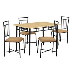 Dining Table Set 5 Pcs Metal Upholstered Chairs Table Kitche