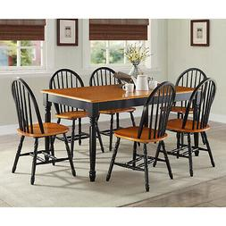 Dining Table Set for 4 Black and Oak 5 Piece Table Chairs Ho