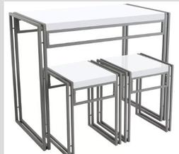 25 Home Decor Dining Table Set,For Two,Small,Metal,3-Piece,W