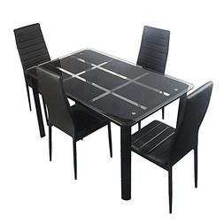 Bonnlo 5 Pieces Dining Table Set for 4 Glass Top Modern Dini