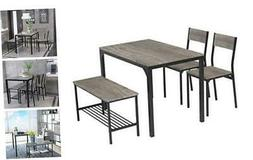 Dining Table Set for 4/Computer Desk,Kitchen Table with Blac