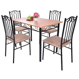 Tangkula 5 Piece Dining Table Set Vintage Wood Top Padded Se