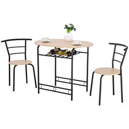 Giantex 3 PCS Dining Table Set w/ 1 Table and 2 Chairs Home