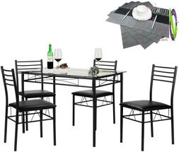Vecelo Dining Table With 4 Chairs [4 Placemats Included, Bla