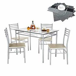 VECELO Dining Table with 4 Chairs  Silver