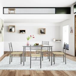 dining table with 4 chairs silver
