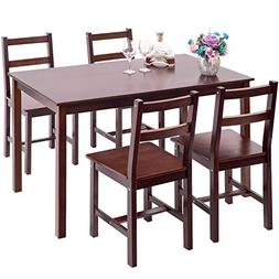 Merax 5pc Dinning Set Table with 4 Chairs Dining Dinette Tab