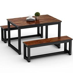 LITTLE TREE Dinning Table Set with Two Benches, 3-Piece Rust