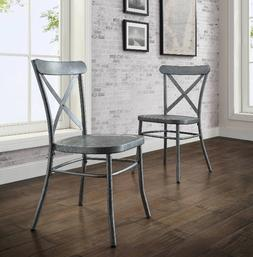 Distressed Metal Dining Chairs Set of 2 Modern Farmhouse Kit