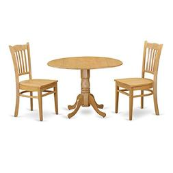 East West Furniture DLGR3-OAK-W 3 Piece Dinette Table and 2
