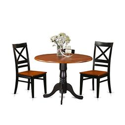East West Furniture DLQU3-BCH-W 3 Piece Dining Table and 2 W