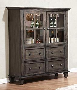 Sunset Trading DLU-EL-DS Shades of Gray China Cabinet, Weath