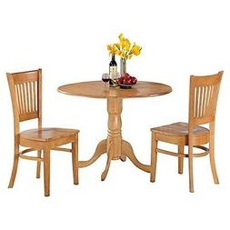 East West Furniture DLVA3-OAK-W 3-Piece Kitchen Nook Dining