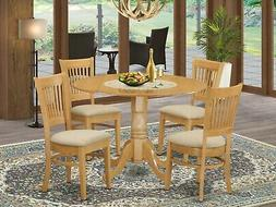 East West Furniture DLVA5-OAK-C 5-Piece Kitchen Table Set, O
