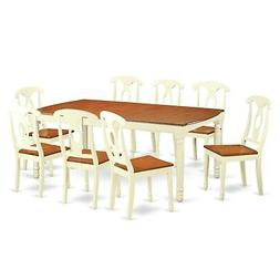 East West Furniture DOKE9-WHI-W 9 Piece Table and 8 Dining R