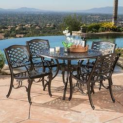 Home Out door Cast Aluminum Bronze Dining Set 5pc Metal Brow