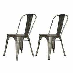 Dorel Home Products Fusion Metal Dining Chair with Wood Seat