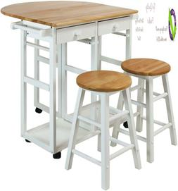 Casual Home Drop Leaf Breakfast Cart With 2 Stools-White