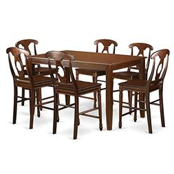East West Furniture DUKE7H-MAH-W 7 Piece High Top Table and