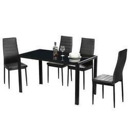 Durable 7 Piece Black Glass Table 6 Dining Table Set Chairs