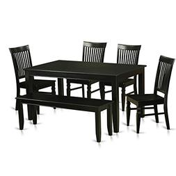 East West Furniture DUWE6-BLK-W 6 Piece Table and 4 Kitchen