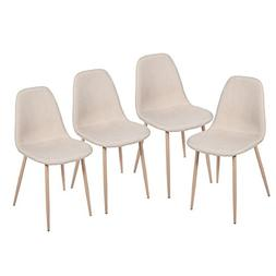 Merax Eames Style Fabric Dining Side Chairs with Metal Legs