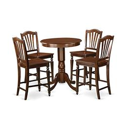 East West Furniture EDCH5-MAH-W 5 Piece High Top Table and 4