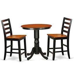 East West Furniture EDFA3-BLK-W 3 Piece Pub Table and 2 Kitc