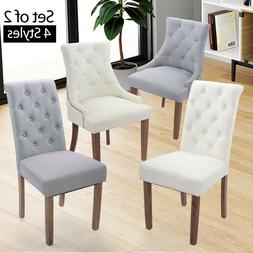 Elegant 2 Pcs Fabric Accent Dining Chairs Tufted Pattern Din