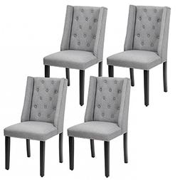 Set of 4 Elegant Dining Side Chairs Button Tufted Fabric w N