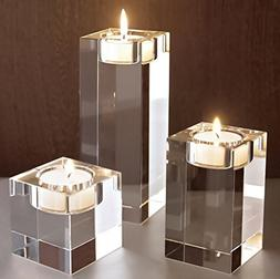 SweetHome Elegant Square Crystal Candlesticks for Birthday P
