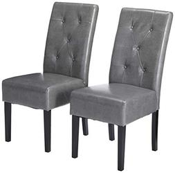 Elegant Marbled Grey Leather Dining Chairs w/ Buttons Tufte