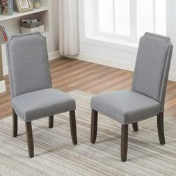 Elegant Set of 2 Fabric Upholstered  Dining Chairs  Kitchen