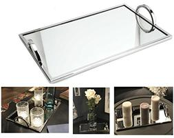 Elegant Silver Mirror Tray – With Chrome Edging and Handle