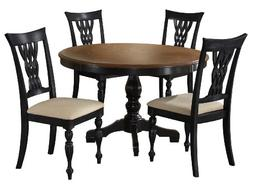 Embassy Pedestal Dinette Table Set w Woven Laced Chair Backs