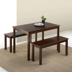 Zinus Espresso Wood Dining Table with 2 Benches / 3 Piece Se