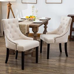 Mecor Fabric Dining Chairs Set of 2,Leisure Padded Chair wit