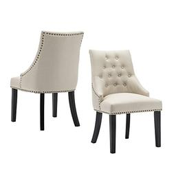 LSSBOUGHT Set of 2 Fabric Dining Chairs Leisure Padded Chair