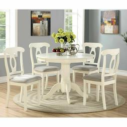 Farmhouse Dining Set 5 Piece Table Chair Ivory Round Pedesta