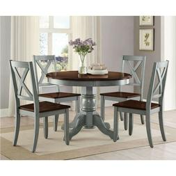 Rustic Farmhouse Dining Table Set Round 5 Piece Kitchen/Dini