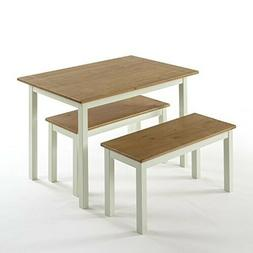 Zinus Farmhouse Dining Table with Two Benches / 3 piece set