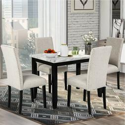 Faux Marble 5-Piece Dining Set Table with 4 Thicken Cushion