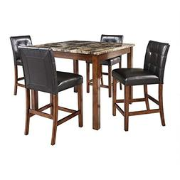 Pemberly Row 5 Piece Faux Marble Top Counter Height Dining S